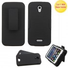 Alcatel One Touch Pop Astro Black/Black Advanced Armor Protector Cover (With Black Holster)
