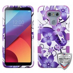 LG G6 Purple Hibiscus Flower Romance/Electric Purple Hybrid Case