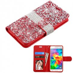 Samsung Galaxy Grand Prime Red Mini Crystals with Silver Belt Wallet