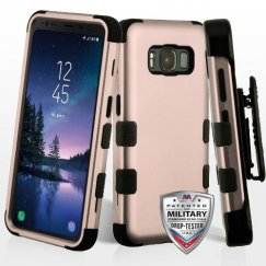 Samsung Galaxy S8 Active Rose Gold/Black Hybrid Case Military Grade with Black Horizontal Holster