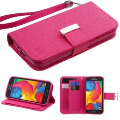 Samsung Galaxy Avant Hot Pink Deluxe Wallet with Button Closure