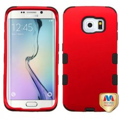Samsung Galaxy S6 Edge Titanium Red/Black Hybrid Case