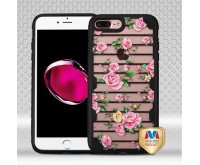 Apple iPhone 7 Plus Pink Fresh Roses/Black FreeStyle Challenger Hybrid Protector Cover