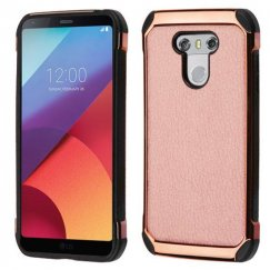 LG G6 Rose Gold Lychee Grain Rose Gold Plating/Black Astronoot Case