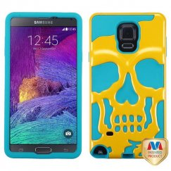 Samsung Galaxy Note 4 Solid Pearl Yellow/Tropical Teal Skullcap Hybrid Case