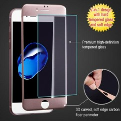 Apple iPhone 7 3D Curved Soft Edge Carbon Fiber Tempered Glass Screen Protector - Rose Gold