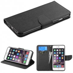 Apple iPhone 6 Plus Black Pattern/Black Liner wallet with Card Slot