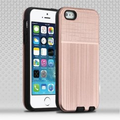 Apple iPhone 5/5s Rose Gold Woven & Brushed/Black Hybrid Protector Cover