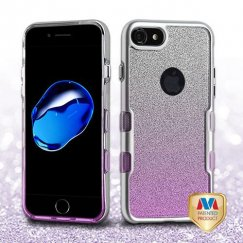 Apple iPhone 8 Metallic Silver/Transparent Purple Gradient Silver Full Glitter Panoview Hybrid Case