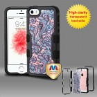 Apple iPhone SE Natural Black Frame Purple European Flowers PC Back/Black Vivid Hybrid Case