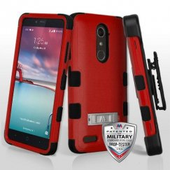 ZTE Grand X Max 2 Natural Red/Black Hybrid Case with Stand Military Grade with Black Horizontal Holster