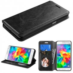 Samsung Galaxy Grand Prime Black Wallet with Tray