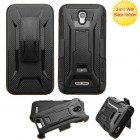 Alcatel One Touch Elevate Black/Black Advanced Armor Stand Protector Cover (With Black Holster)