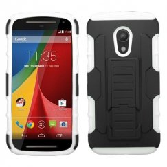 Motorola Moto G Black/White Car Armor Stand Case - Rubberized