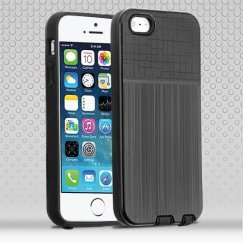 Apple iPhone 5/5s Black Woven & Brushed/Black Hybrid Protector Cover
