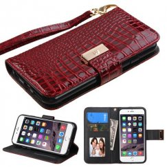 Apple iPhone 6 Plus Burgundy Crocodile-Embossed Wallet