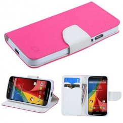 Motorola Moto G 2nd Gen Hot Pink Pattern/White Liner wallet with Card Slot