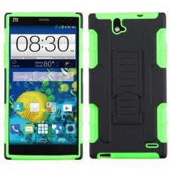 ZTE Grand X Max / Grand X Max Plus Black/Electric Green Car Armor Stand Case - Rubberized