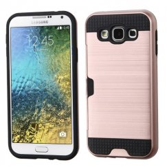 Samsung Galaxy E5 Rose Gold/Black Brushed Hybrid Case with Card Wallet