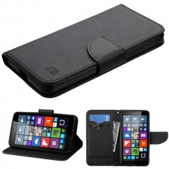 Nokia Lumia 640 Black Pattern/Black Liner wallet with Card Slot