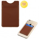 Brown Genuine Leather Adhesive Card Pouch