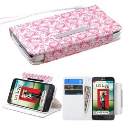 LG Optimus L70 Pink butterfly flowers Wallet