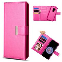 Samsung Galaxy S9 Plus Hot Pink Detachable Magnetic 2-in-1 Wallet (PC Case + Leather Folio)(PR252) -WP