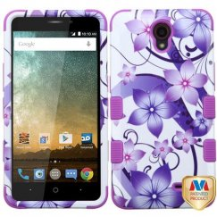 ZTE Avid Plus / Maven 2 Purple Hibiscus Flower Romance/Electric Purple Hybrid Case