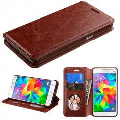Samsung Galaxy Grand Prime Brown Wallet with Tray