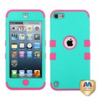 Apple iPod Touch (5th Generation) Rubberized Teal Green/Electric Pink Hybrid Case
