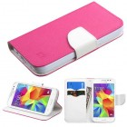 Samsung Galaxy Core Prime Hot Pink Pattern/White Liner wallet (with card slot)