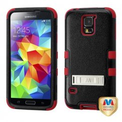 Samsung Galaxy S5 Natural Black/Red Hybrid Case with Stand