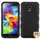 Samsung Galaxy S5 Mini Rubberized Black/Black Hybrid Case