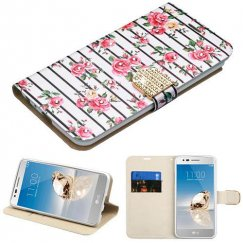 LG G Stylo 3 Pink Fresh Roses Diamante Wallet with Diamante Belt