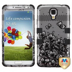 Samsung Galaxy S4 Black Lace Flowers 2D Silver/Black Hybrid Case