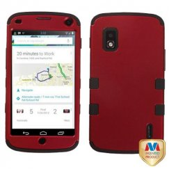 LG Nexus 4 Titanium Red/Black Hybrid Case