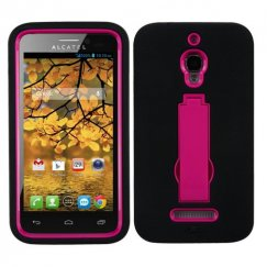 Alcatel One Touch Fierce Hot Pink/Black Symbiosis Stand Case