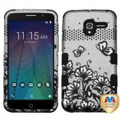 Alcatel Stellar / Tru 5065 Black Lace Flowers 2D Silver/Black Hybrid Case