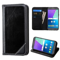 Samsung Galaxy J3 Black Genuine Leather Wallet