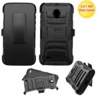 Alcatel Pop Icon 2 Black/Black Advanced Armor Stand Protector Cover (With Black Holster)