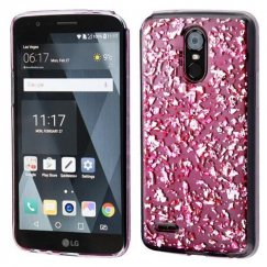 LG G Stylo 3 Silver Flakes (T-Pink) Krystal Gel Series Candy Skin Cover