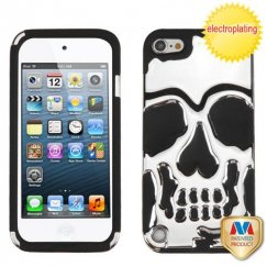 Apple iPod Touch (5th Generation) Silver Plating/Black Skullcap Hybrid Case
