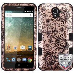 ZTE Prestige 2 Black Four-Leaf Clover (2D Rose Gold)/Black Hybrid Case Military Grade