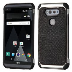 LG V20 Black Dots Silver Plating/Black Astronoot Case