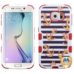 Samsung Galaxy S6 Edge Nautical Stripes/Red Hybrid Case