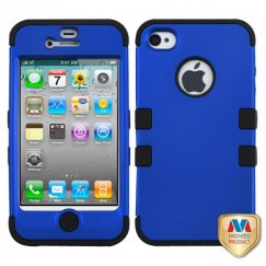 Apple iPhone 4/4s Titanium Dark Blue/Black Hybrid Case