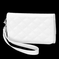 Apple iPhone 4/4s Premium White Quilted Wallet