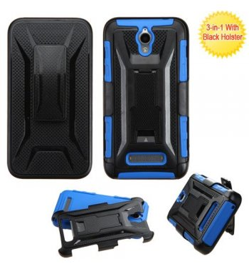 ZTE Obsidian Black/Dark Blue Advanced Armor Stand Protector Cover (With Black Holster)