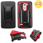LG G3 Stylus Black/Red Advanced Armor Stand Protector Cover (With Black Holster)