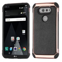 LG V20 Black Lychee Grain Rose Gold Plating/Black Astronoot Case